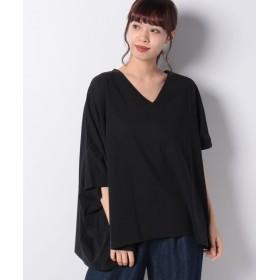 【50%OFF】 メルローズ クレール [Supple Cotton]アシンメトリーデザインVネックTシャツ レディース ブラック F 【MELROSE Claire】 【セール開催中】