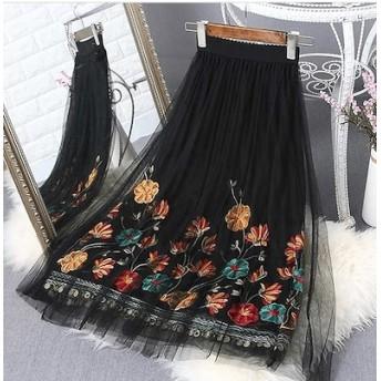 花柄刺繍チュールスカート ガーリー 刺繍スカート ハイウエスト スパンコール ウエストゴム 刺繍レース スカート ロングスカート 可愛い 大活躍
