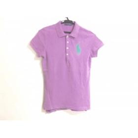【中古】 ラルフローレン RalphLauren 半袖ポロシャツ レディース パープル グリーン 刺繍