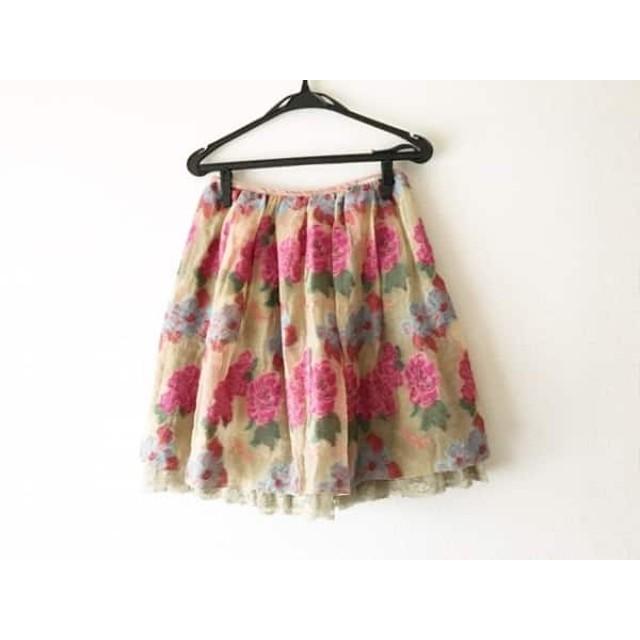 【中古】 ロイスクレヨン Lois CRAYON スカート サイズM レディース 美品 ライトブラウン ピンク マルチ