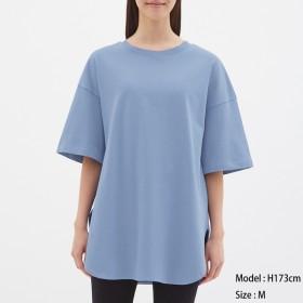 (GU)ヘビーウェイトオーバーサイズT(5分袖) BLUE XS