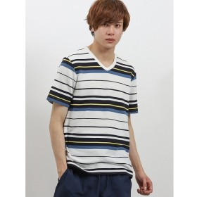 [マルイ]【セール】接触冷感 リップルボーダーVネック半袖Tシャツ/タカキュー(TAKA-Q)