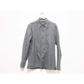 【中古】 アニエスベー agnes b 長袖シャツ サイズ1 S メンズ ダークネイビー アイボリー 格子柄