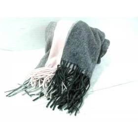 【中古】 ランバンコレクション ストール(ショール) ダークグレー グレー ピンク カシミヤ