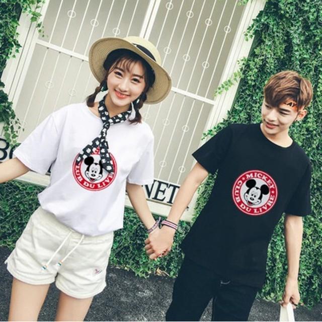 10月新更新!【7color】綿100% ミッキーTシャツ 韓国ファッション! 先着50名セール 可愛いミッキープリント★韓国ファッション ペアルックカップルtシャツ メンズ ディズニー