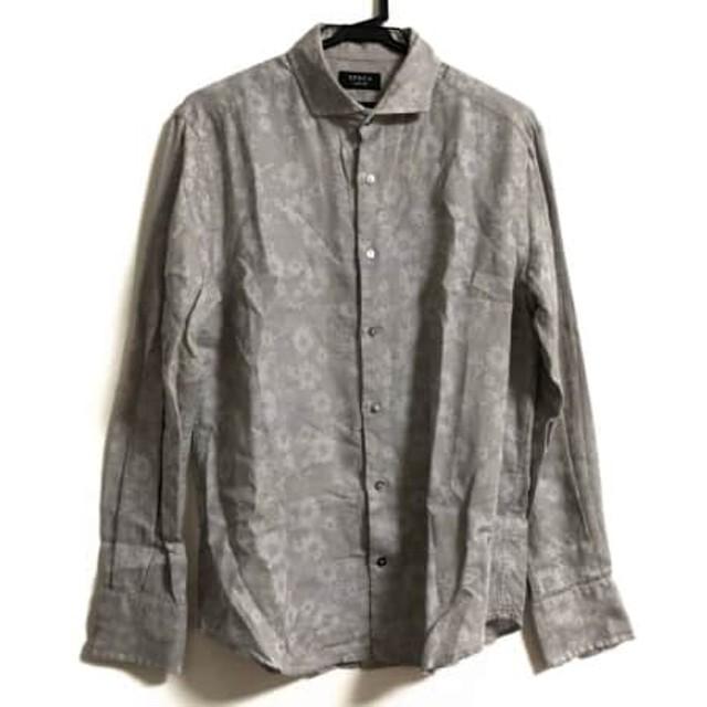 【中古】 エポカ EPOCA 長袖シャツ サイズ48 XL メンズ グレー ライトグレー UOMO/花柄