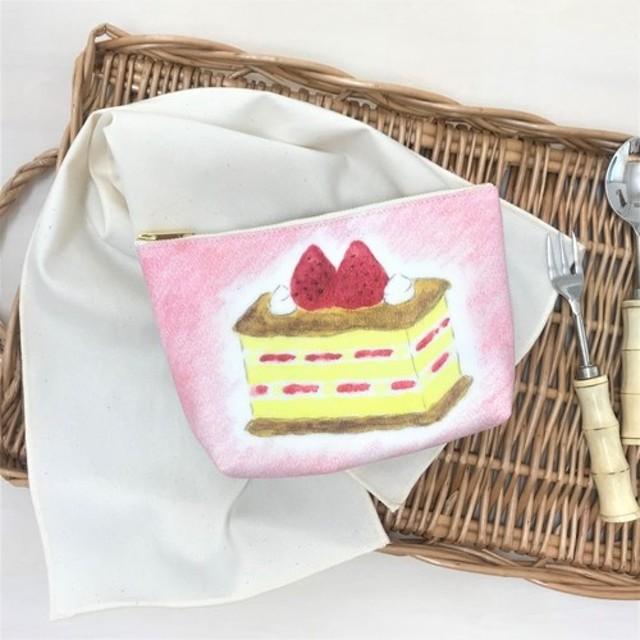 ガーデンティーパーティー マチ付きポーチ ケーキ柄 ストロベリーミルフィーユ