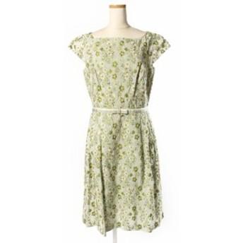 【中古】トッカ TOCCA 16SS ARONIA ドレス ワンピース 刺繍 花柄 ノースリーブ 4 緑 グリーン /hk0420 レディース