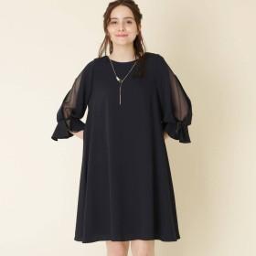 クチュール ブローチ Couture brooch Luxe brille(リュクスブリエ)デザイン袖ワンピース (ネイビー)