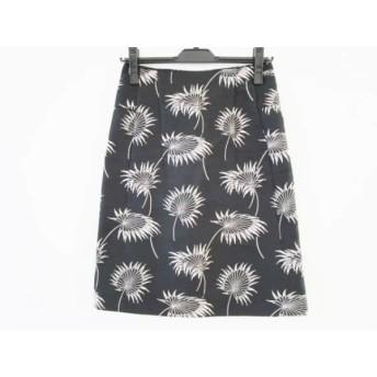 【中古】 マルニ MARNI スカート サイズ38 S レディース 黒 ライトグレー 刺繍