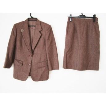 【中古】 バーバリーズ Burberry's スカートスーツ レディース ブラウン マルチ ツイード