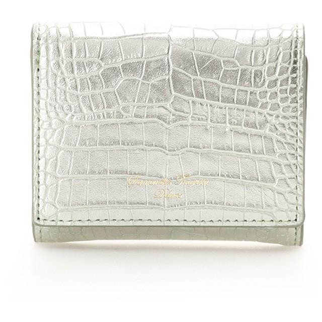 サマンサタバサデラックス クロコ型押しメタリック 三つ折り財布 イエローグリーン