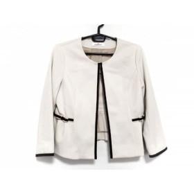 【中古】 ギャラリービスコンティ ジャケット サイズ2 M レディース 美品 ベージュ 黒 リボン