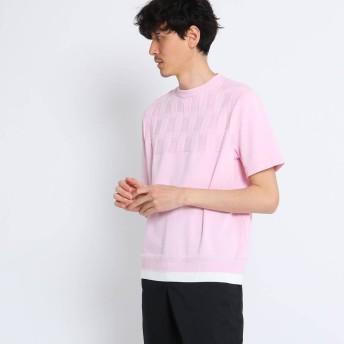 タケオ キクチ TAKEO KIKUCHI ブロックリンクスパネルニットTシャツ (ベビーピンク)