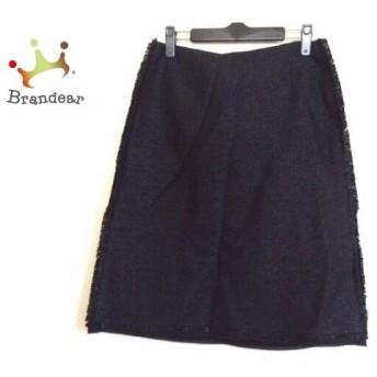 ランバンコレクション スカート サイズ40 M レディース 黒 ツイード/サイドライン スペシャル特価 20190819【人気】