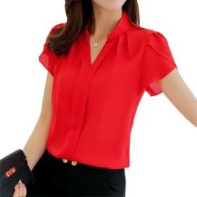ブランド女性ボディブラウスシャツオフィス半袖ネック白レッドピンクブルー夏秋女性服韓国作業着用トップス