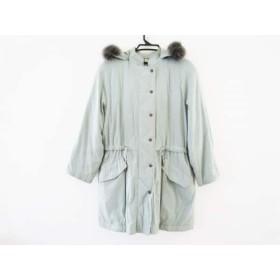 【中古】 バーバリーズ Burberry's コート サイズ9 M レディース ライトブルー 冬物/ファー