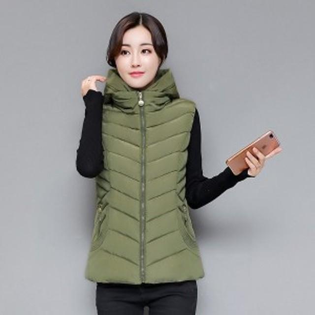 女性の秋と冬取り外し可能なフードベストスリム綿のベストファッション女性のチョッキプラスサイズ5ノースリーブ服3771