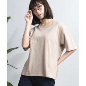 WEGO WEGO/USAコットンVネックTシャツ(ベージュ)【返品不可商品】
