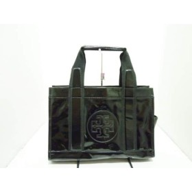 【中古】 トリーバーチ TORY BURCH トートバッグ 黒 コーティングキャンバス キャンバス