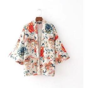 2018新しい女性ヴィンテージ印刷カーディガン着物緩いブラウスシャツレディー花中国スタイルフェミニントップス1218