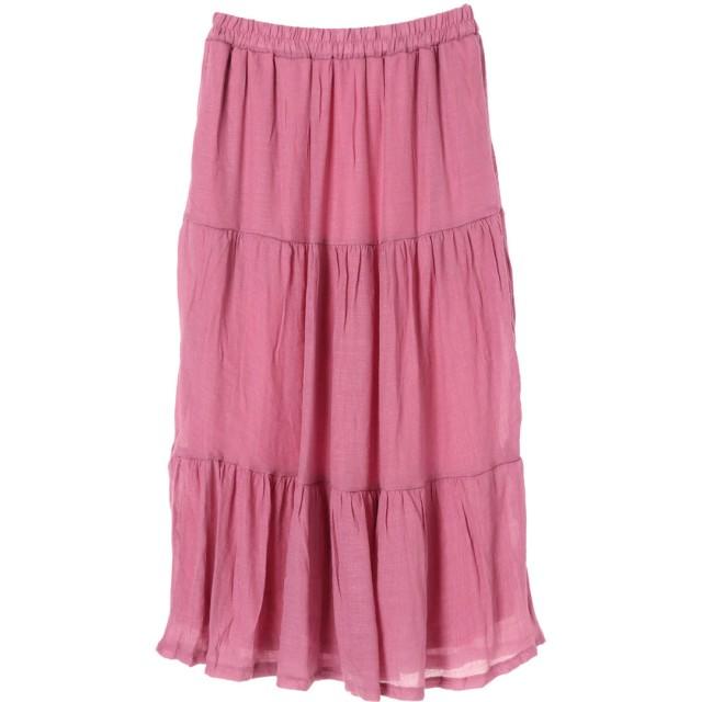 グリーンパークス Green Parks ティアードロングスカート (Pink)