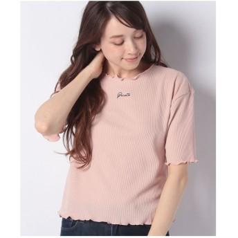 WEGO WEGO/ロゴメロウワッフルTシャツ(ピンク)【返品不可商品】