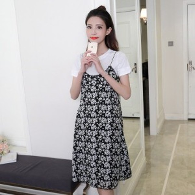 0a139a02cd4 2018新しい夏春ファッション女性ドレスプリントスパゲティストラップスタイリッシュ衣装ドレス550-1