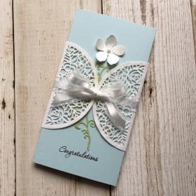 花柄レースのオシャレご祝儀袋 ウェディング(ライトブルー・白)