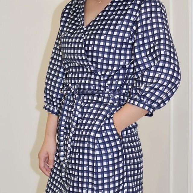 フラット135 X台湾デザイナーシリーズ半袖ドレス綿格子縞の小さな花日本の布