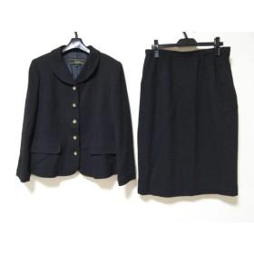 【中古】 レリアン Leilian スカートスーツ サイズ13 L レディース 黒 ツイード/肩パッド