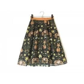 【中古】 アプワイザーリッシェ ロングスカート サイズ0 XS レディース 美品 黒 ブラウン マルチ