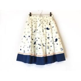 【中古】 フランシュリッペ franchelippee スカート サイズM レディース 美品 白 ネイビー マルチ