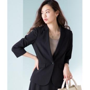 うすカル7分袖ストレッチショート丈ジャケット(上下別売りスーツ) (大きいサイズレディース)スーツ