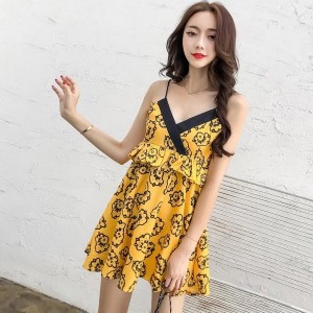 00c0989c5d3 新しい2018春女性ドレススパゲッティストラップスリム海辺のリゾートドレス黄色225