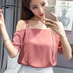 2018夏セクシーなスラッシュネック女性の服ファッションストラップレスシフォン女性ブラウスシャツ甘いピンク女性トップス77530
