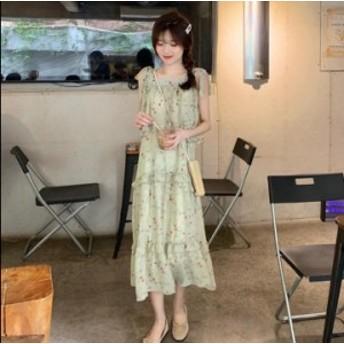 リアルショット韓国のシフォンレースのドレスの女性の新しいストラップスカートの花の膝のスカートの上