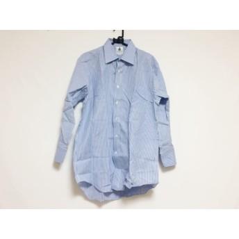 【中古】 ランバン LANVIN 長袖シャツ サイズ41-78 メンズ ブルー ライトブルー 白 ストライプ
