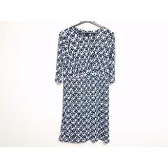 【中古】 ニジュウサンク 23区 ワンピース サイズ38 M レディース 美品 白 ダークネイビー ブルー