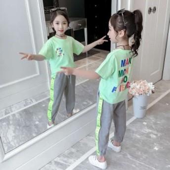 女の子 新作 半袖Tジャージ スウェットパンツ 上下セット 夏 子ども きれいめ 通学 スウェット 運動着 スポーツウエア セットアップ おし
