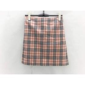 【中古】 バーバリーブルーレーベル スカート サイズ38 M レディース ピンク 黒 マルチ チェック柄