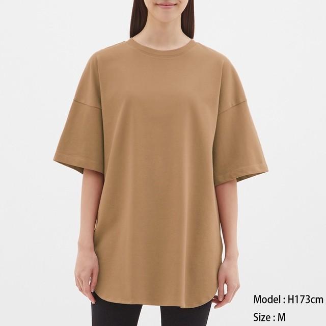 (GU)ヘビーウェイトオーバーサイズT(5分袖) BROWN XL
