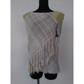 手織りの布でコットンブラウス