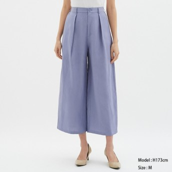 (GU)リネンブレンドワイドパンツ BLUE M
