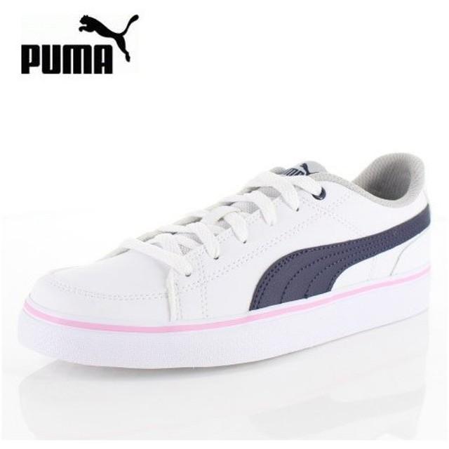 PUMA プーマ キッズ レディース コートポイント VULC V2 BG 362947-15 Puma White-Pale Pink スニーカー カジュアル ホワイト ネイビー