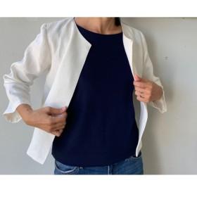 数量限定 リネン 麻 白色 ジャケット 七分袖 天然生活 伊藤まさこ ボレロ カーディガン