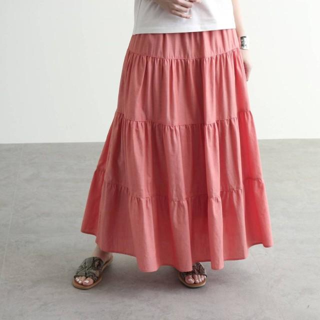 オゾック OZOC [洗える]ティアードフラワーコットンスカート (オレンジ)