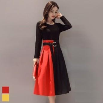 ドレス ワンピース 膝丈 赤 切り替え ブラック 黒 Aライン 秋 冬 大きいサイズ レディース 送料無料