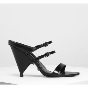 ダブルストラップ メリージェーンコーンヒール / Double Strap Mary Jane Cone Heels (Black)