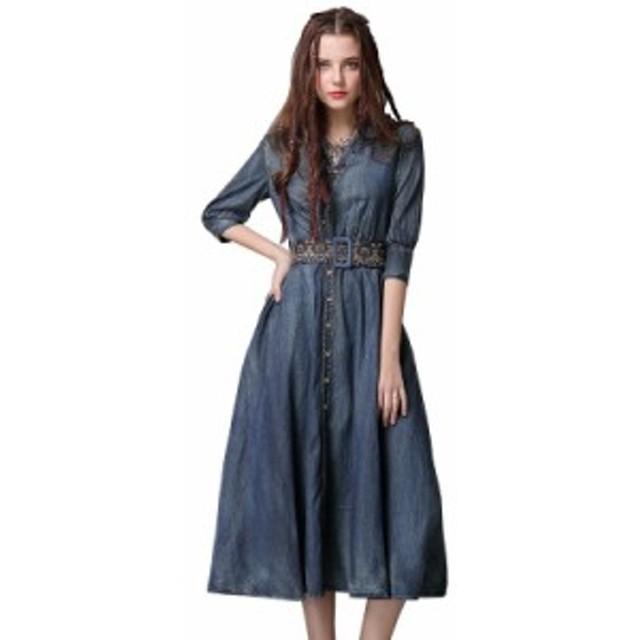 春の新しい不規則なデニムスカートヴィンテージベルト刺繍ミッドスリーブドレス